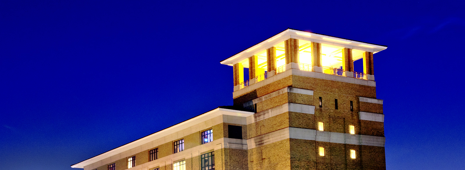 View of Columbus Regional Hospital tower at night.
